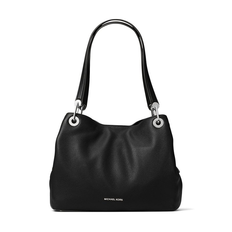 Michael Kors Raven Large Shoulder Tote Black Silver Hardware
