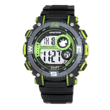 Armitron Men's Lime Green Accented Digital Chronograph Black Resin Strap Watch