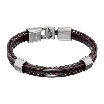 UnoDe50 Unisex Crossing Leather Bracelet, Brown, Size Large