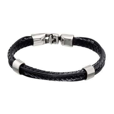 UnoDe50 Unisex Crossing Leather Bracelet, Black, Size Large