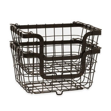 Gourmet Basics by Mikasa Set of 2 Stacking Organization Baskets