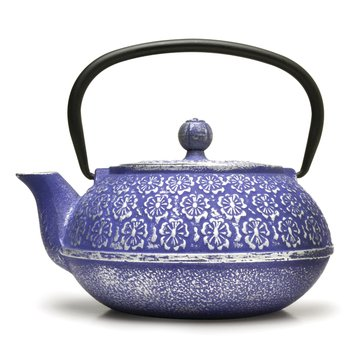 Primula Floral 40 Oz Cast Iron Teapot, Blue
