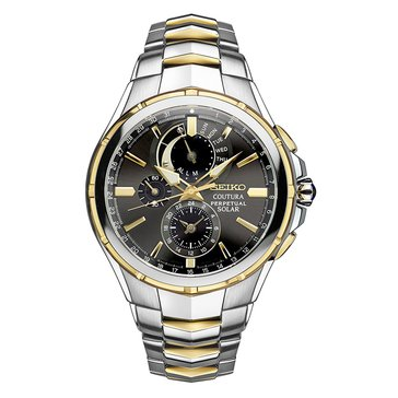Seiko Men's Coutra Chronograph Two Tone Stainless Steel Bracelet Watch 45mm