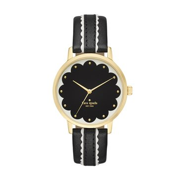 Kate Spade New York Women's Metro Scallop Gold Tone Black and White Leather Strap Watch 34mm