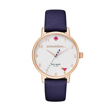 Kate Spade New York Women's Metro 5 O'Clock Somewhere Leather Strap Watch, 34mm