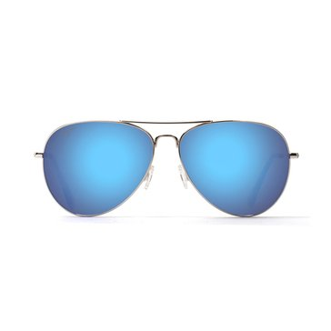 Maui Jim Unisex Mavericks Polarized Sunglasses B264-17, Silver/ Blue Hawaii 61mm
