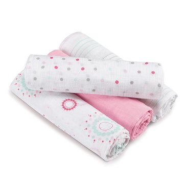 Aden + Anias SwaddlePlus, Sweet In Pink, 4-Pack