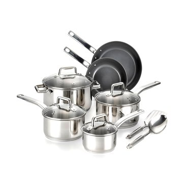 T-Fal Precision Stainless Steel 12-Piece Ceramic Cookware Set