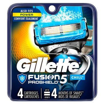 Gillette Fusion 5 Proshield Chill Cartridges, 4 Count