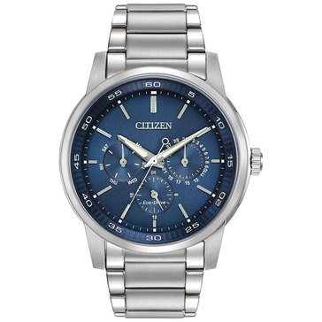 Citizen Men's Eco-Drive WR100 Blue Dial Stainless Steel Bracelet Watch