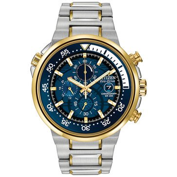 Citizen Men's Eco-Drive WR200 Blue Dial Stainless Steel Bracelet Watch