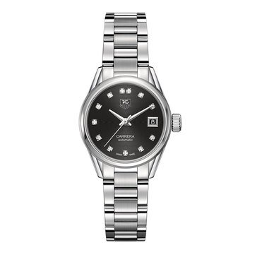 Tag Heuer Women's Carrera Calibre 9 .1 Cttw Fine Brushed and Polished Steel Diamond Automatic Watch, 28mm