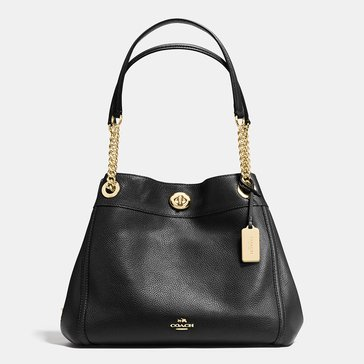 Coach Pebble Turnlock Edie Black