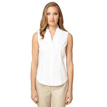 Brooks Brothers Sleeveless Rihanna Blouse in White