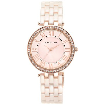 Anne Klein Women's Crystal Accent Ceramic Bracelet Watch 34mm