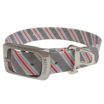Kurgo Muck Dog Collar Prepster Stripe Granite Grey Small