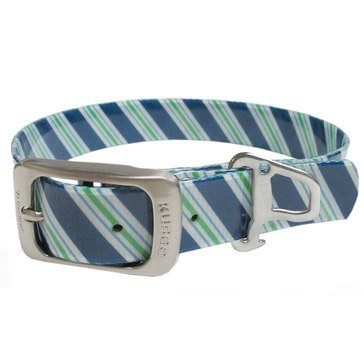 Kurgo Muck Dog Collar Prepster Stripe Atlantic Blue Small
