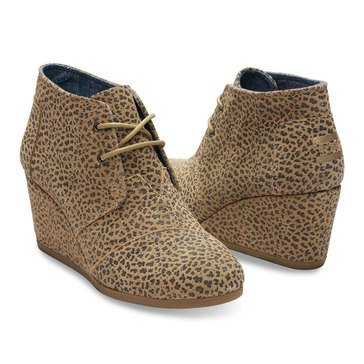 Toms Women's Cheetah Desert Suede Wedge Boot