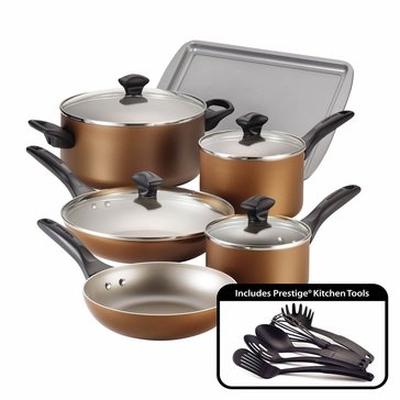 Farberware 15-Piece Dishwasher Safe Non-Stick Cookware Set,Copper