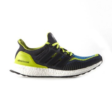 adidas AQ4002 Ultra Boost Men's Running Shoe Semi Solar Slime / Night Navy / Shock Blue