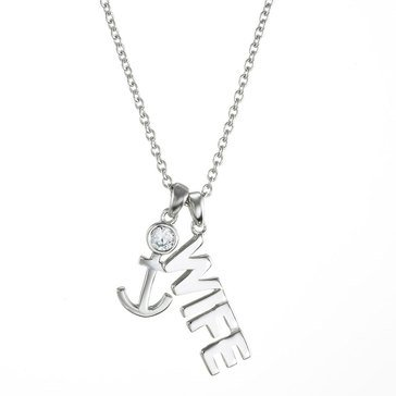 Crislu Logo Sterling Silver and Platinum 1/5 cttw 'Wife' Anchor Necklace