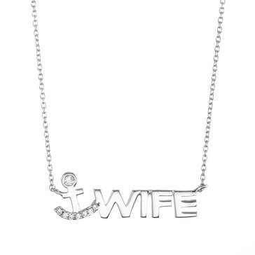 Crislu Logo Sterling Silver and Platinum 1/5 cttw Pave 'Wife' Anchor Necklace