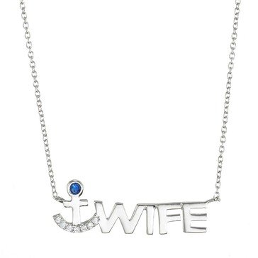 Crislu Logo Sterling Silver and Platinum 1/5 cttw Pave Sapphire 'Wife' Anchor Necklace