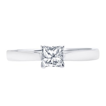 Navy Star 1/2 Cttw Princess Cut Solitare Ring, 14K White Gold