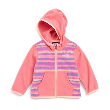 The North Face Baby Girls' Glacier Full Zip Hoodie, Pink Stripe