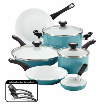 Farberware 12-Piece Ceramic Cookware Set, Aqua