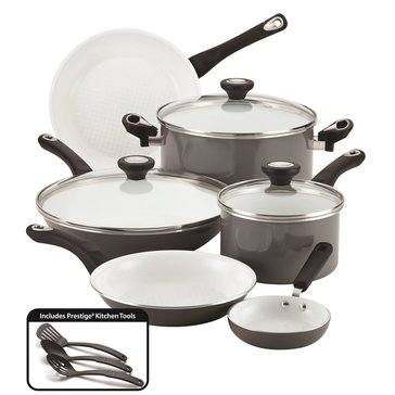 Farberware 12-Piece Ceramic Cookware Set, Gray