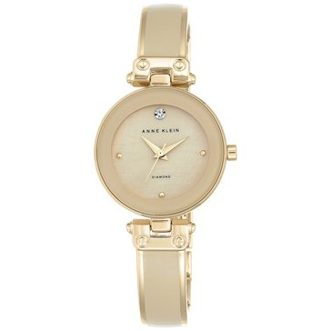 Anne Klein Women's Diamond Accent Gold Tone Bangle Bracelet Watch, 28mm