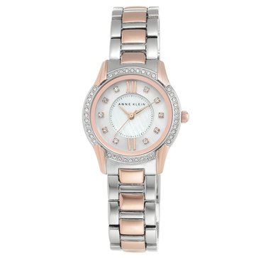 Anne KLein Women's Crystal Accent Two Tone Stainless Steel Bracelet Watch 28mm