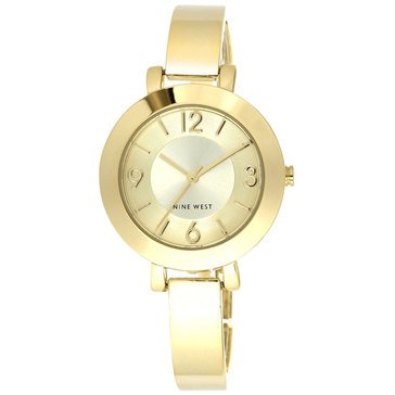 Nine West Women Gold Bangle Watch 34mm