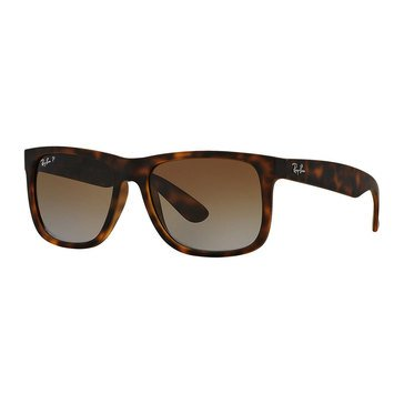 Ray-Ban Men's Justin Classic Polarized Sunglasses RB4165, Havana Rubber/ Brown Gradient 55mm
