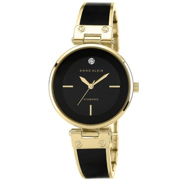 Anne Klein Women's Diamond Accent Black and Gold Tone Bangle Bracelet Watch, 34mm