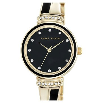 Anne Klein Women's Black Gold Twist Bangle Watch 26mm