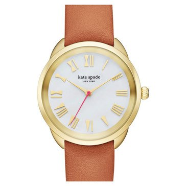 Kate Spade Women's Crosstown Gold/Light Brown Leather Strap Watch, 34mm