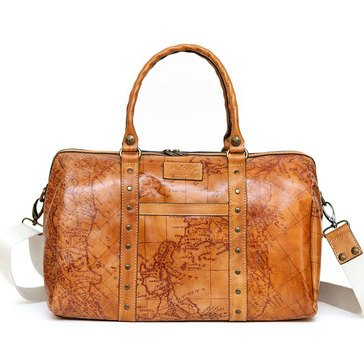 Patricia Nash Milano Weekender Map Print Rust