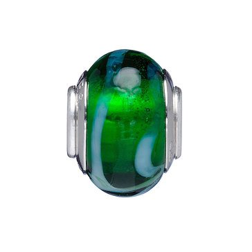 Nomades Green Tinsel Murano Glass Spacer