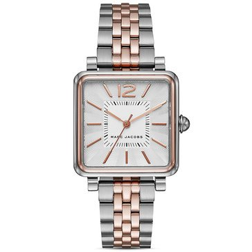 Marc Jacobs Women's Style Square Rose Gold Tone And Stainless Steel Braclet Watch 30mm