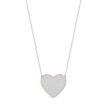 Swarovski 'Cupid' Silver/Rose Gold Tone Crystal Heart Pendant