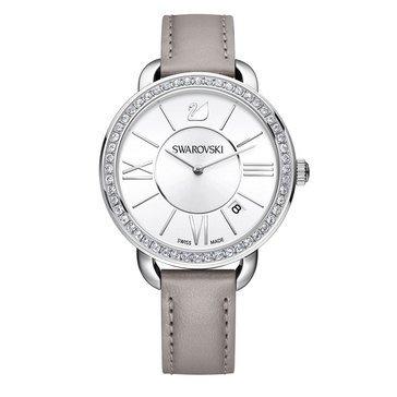 Swarovski Stainless Steel and Grey Leather Aila Day Watch