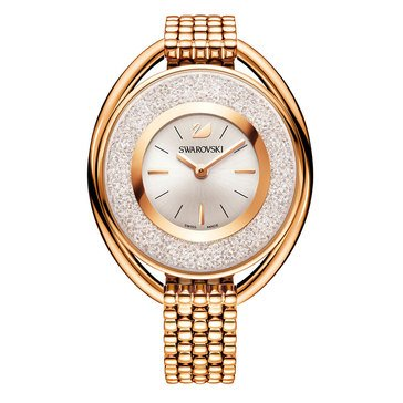 Swarovski Rose Gold Tone Crystalline Oval Bracelet Watch