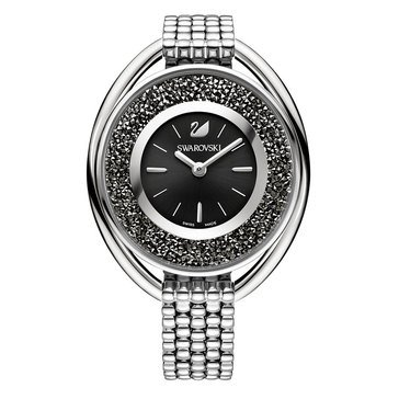 Swarovski Silver Tone Black Crystalline Oval Bracelet Watch