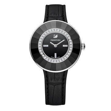 Swarovski Stainless Steel and Black Leather Octea Dressy Watch
