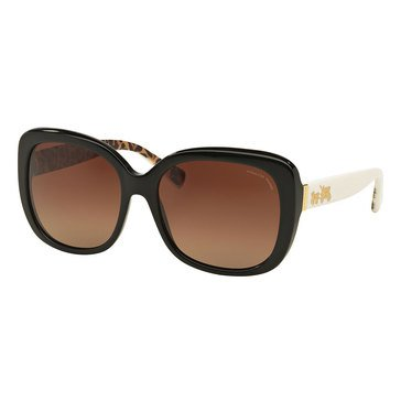 Coach Women's Polarized Sunglasses Black Ivory/ Wild Beast/ Brown Gradient 58mm