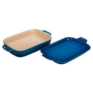 Le Creuset 9x13 Rectangle Dish with Platter Lid, Marseille Blue