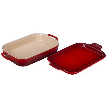 Le Creuset 9x13 Rectangle Dish with Platter Lid, Cerise