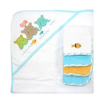 Just Born Hippo Woven 5-Piece Towel Set